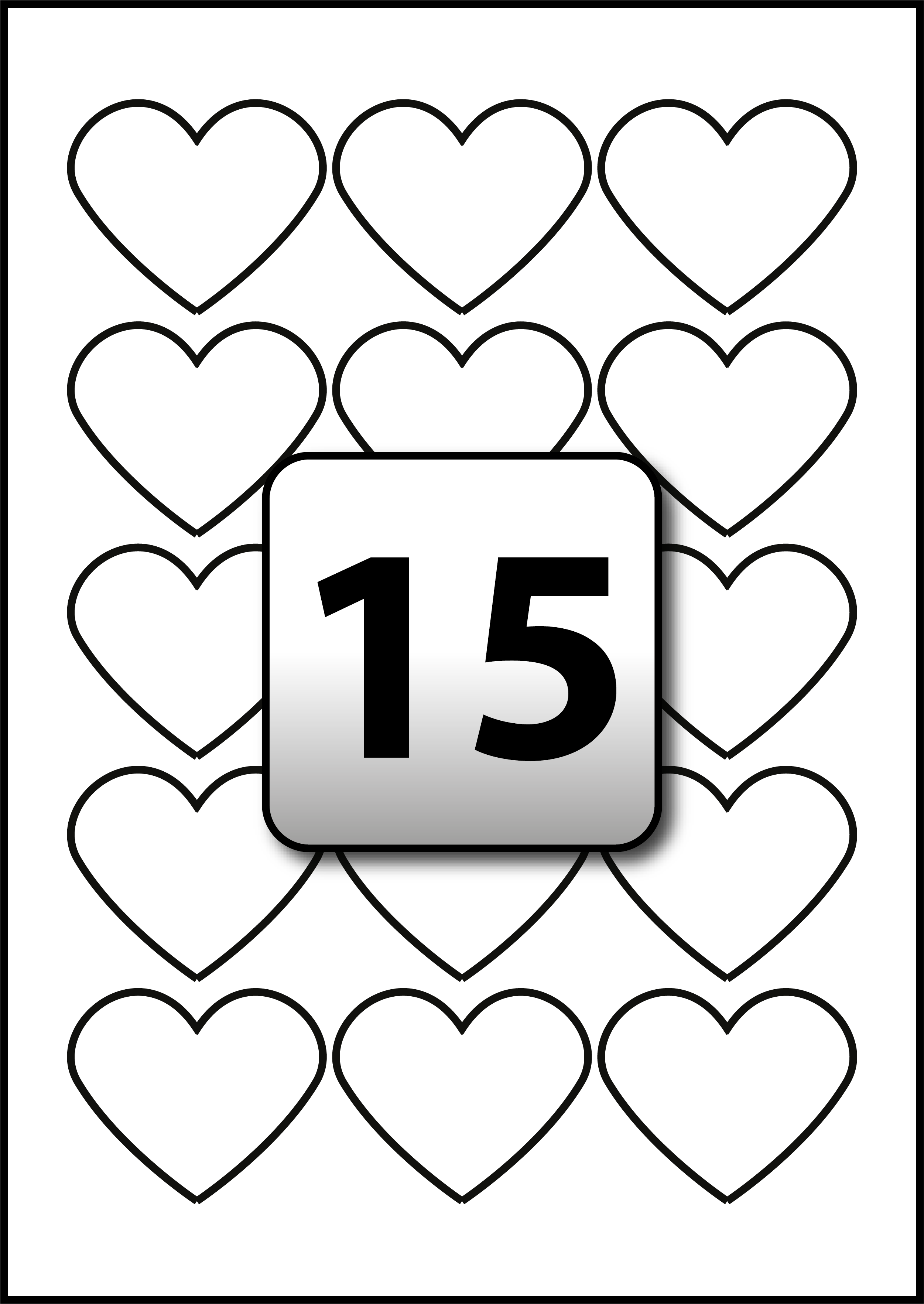 15 Custom Heart Labels per A4 Sheets 57.7 mm x 47.9 mm